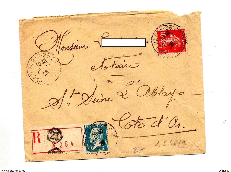 Lettre Recommandee  Paris 23 Sur Semeuse Pasteur - Marcophilie (Lettres)