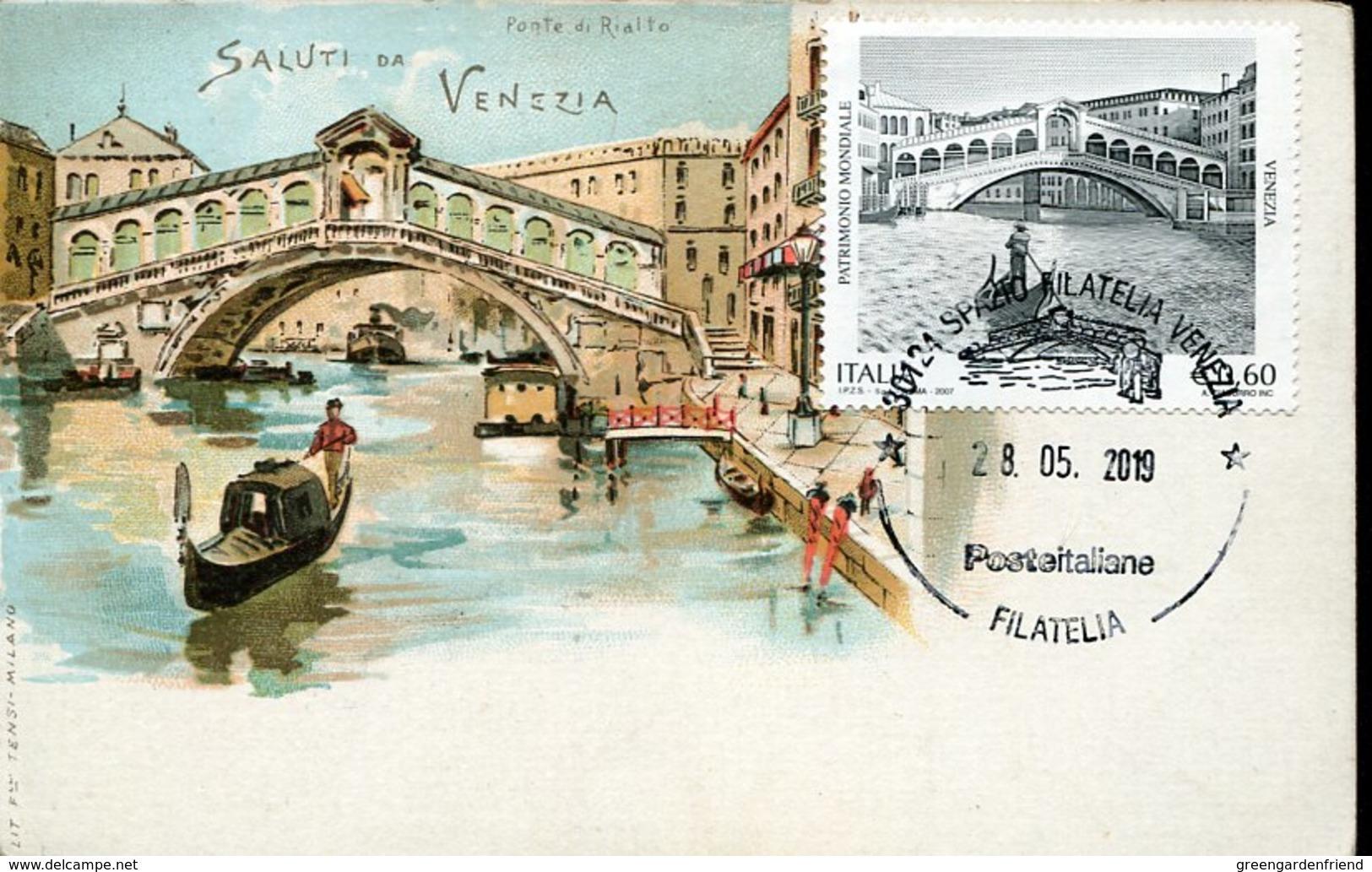 45959 Italia, Maximum 2019 Showing The Rialto Bridge In The Canal Grande Of Venice, Venezia, (vintage Card) - Altri