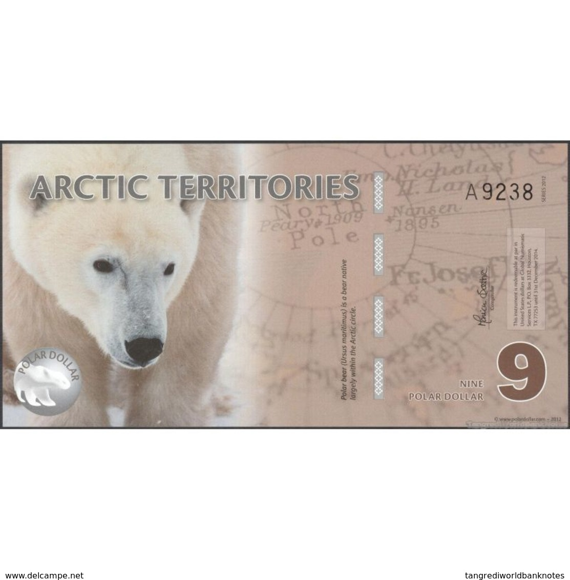TWN - ARCTIC TERRITORIES (private Issue) - 9 Polar Dollars 2012 Polymer - Prefix A UNC - Banconote