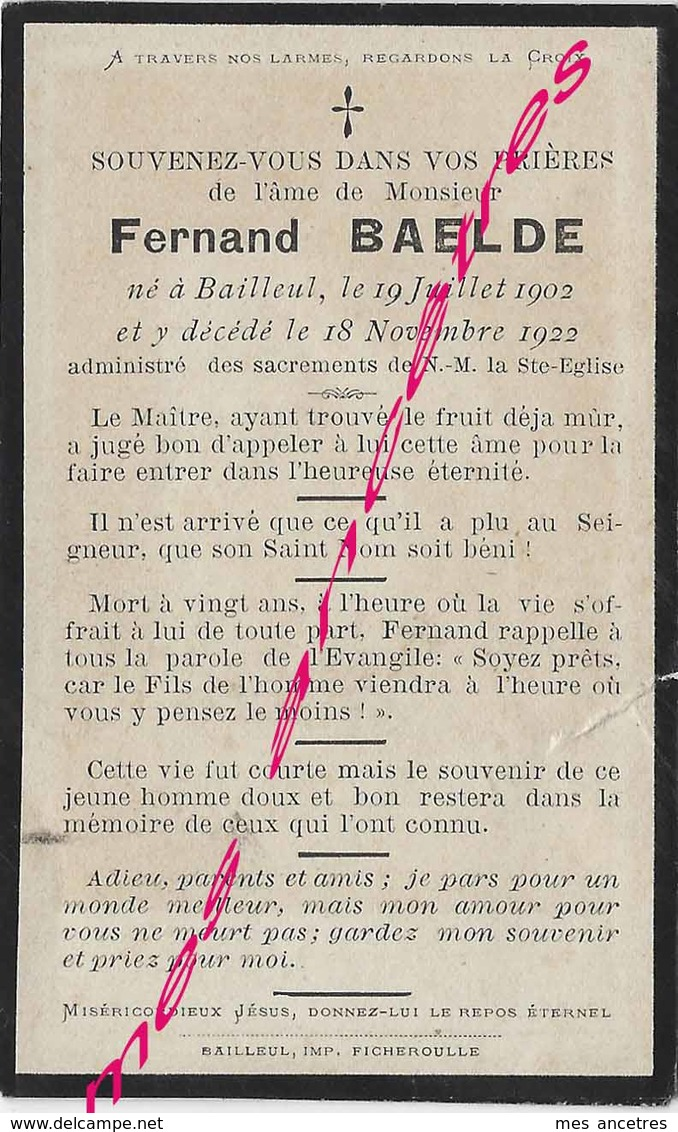 En 1922 Bailleul (59) Fernand BAELDE - Décès