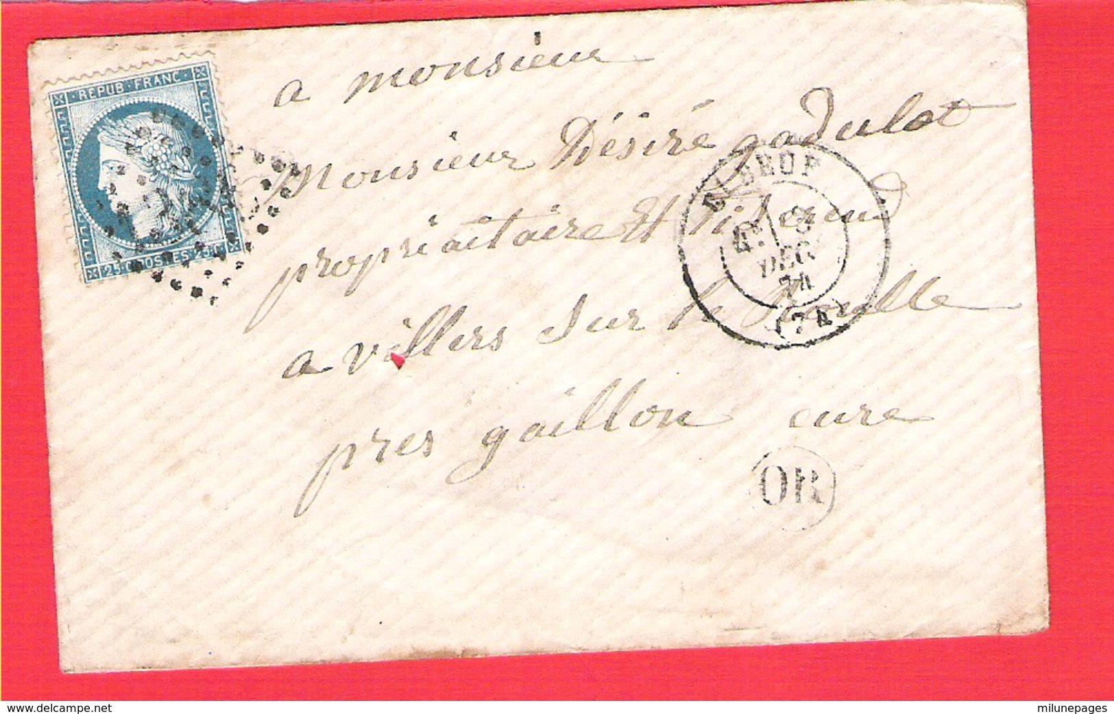 Lettre ELBEUF  GC 1386 Sur 20c. Céres Dentelé  + OR - 1849-1876: Classic Period