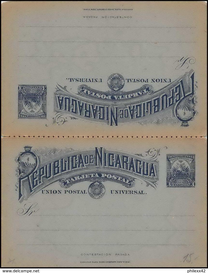 3587/ Nicaragua Entier Stationery Carte Postale (postcard) N°31 Neuf (mint) + Reponse 1894 (détaché) Neuf (mint) - Nicaragua