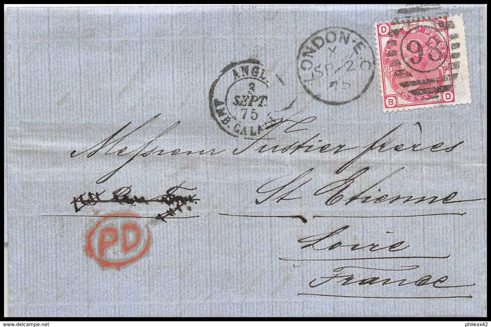 35404 N°51 Victoria 3p Pink London St Etienne France 1875 Cachet 98 Lettre Cover Grande Bretagne Great Britain - 1840-1901 (Victoria)