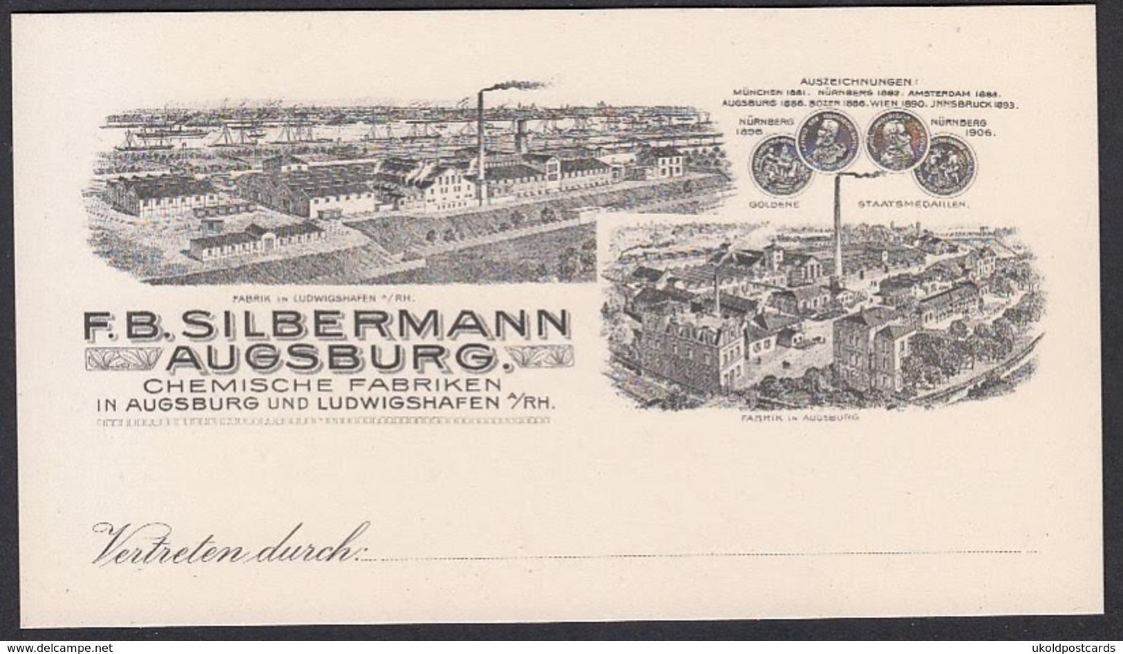 Vertreterkarte Augsburg, Chemische Fabriken F. B. Silbermann, Fabrikansicht Und Auszeichnungen - Germany
