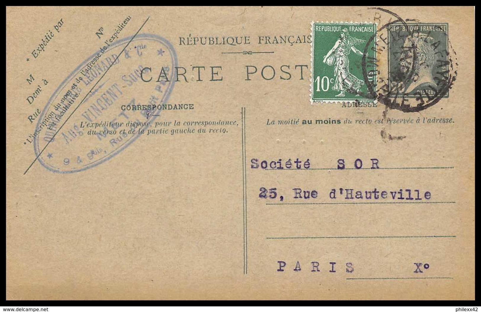 4397 20c Pasteur Recommande Complement Metz 1926 Carte Postale France Entier Postal Stationery - Entiers Postaux