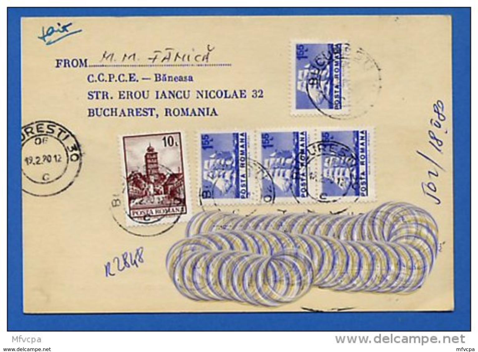 Let223 Roumanie CP 1980 Recommandée Pour La France - 1948-.... Républiques