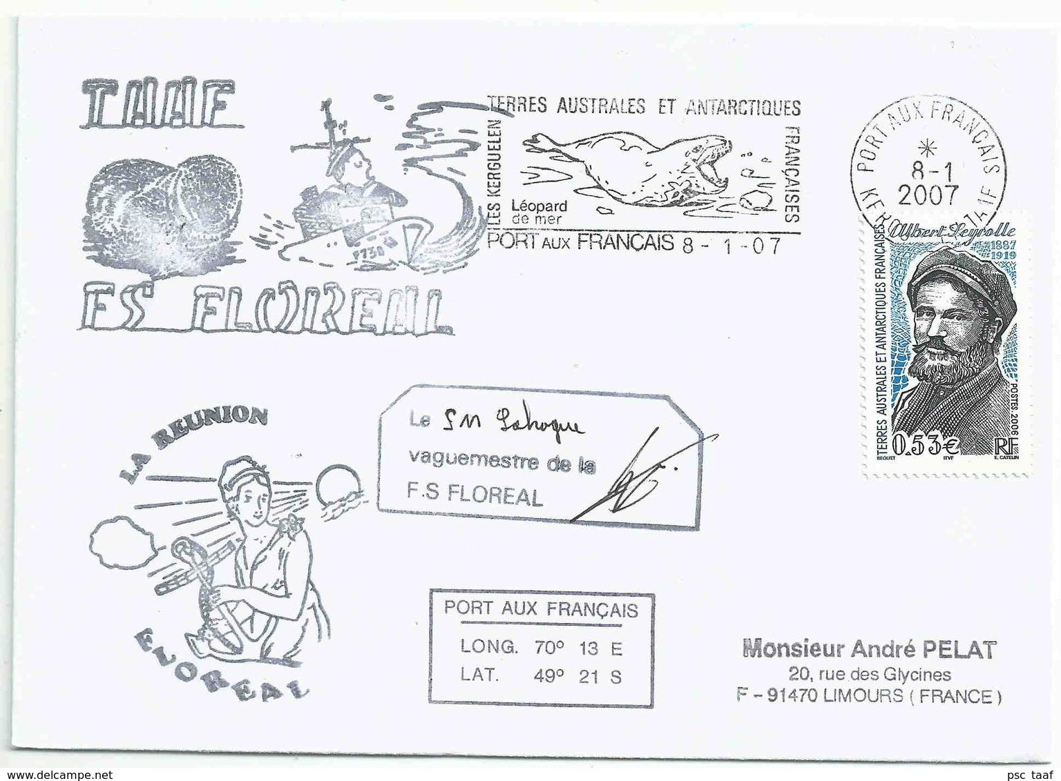 YT 437 - Albert Seyrolle - Explorateur - Posté à Bord Du Floréal - Secap De Port Aux Français - Kerguelen - 08/01/2007 - Explorers