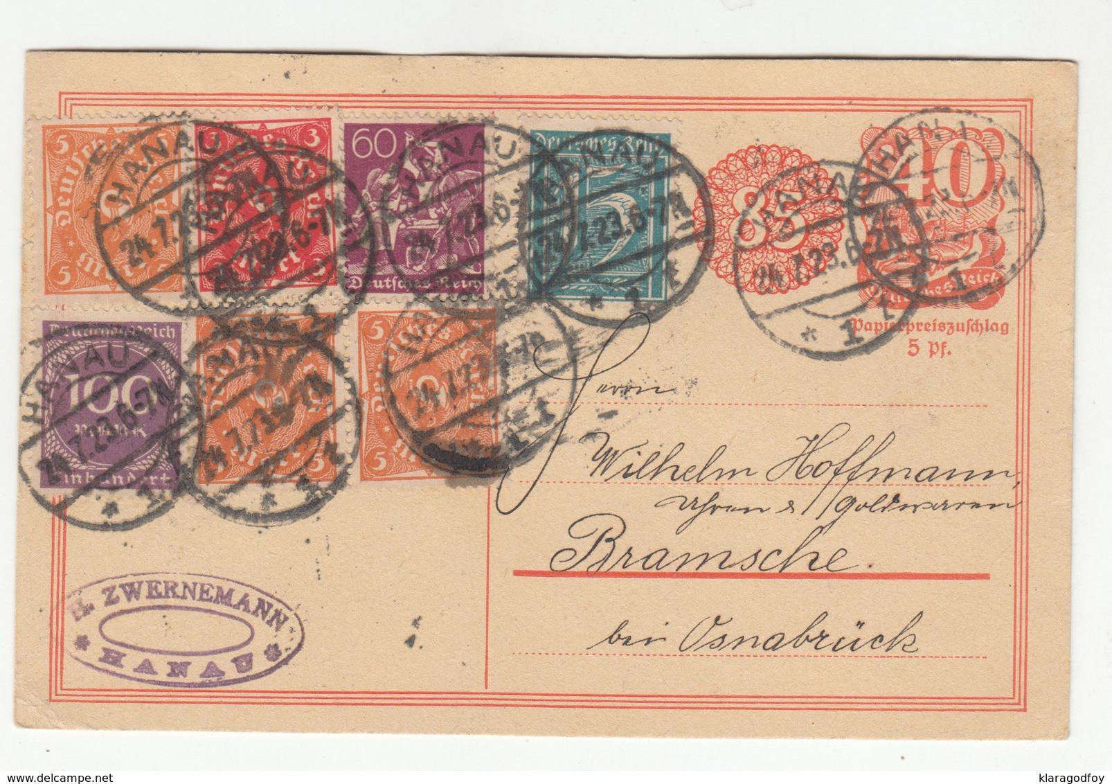 Germany Reich INFLA Postal Stationery Postcard Travelled 1923 Hanau To Bramsche B190701 - Germania
