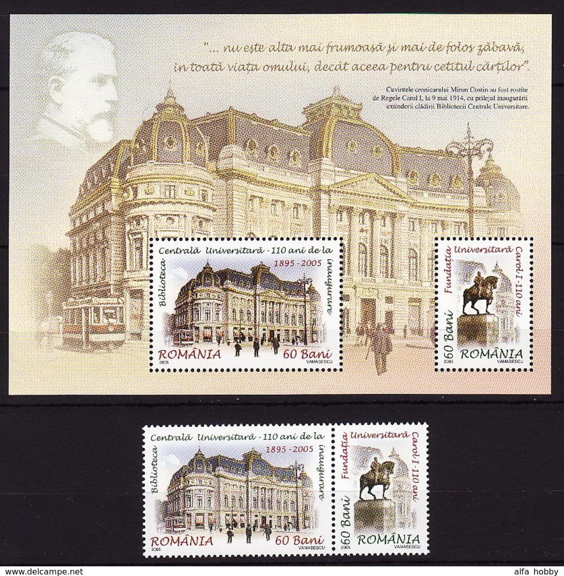 Romania, 2005, University Library, 2 Stamps, Block - 1948-.... Republieken