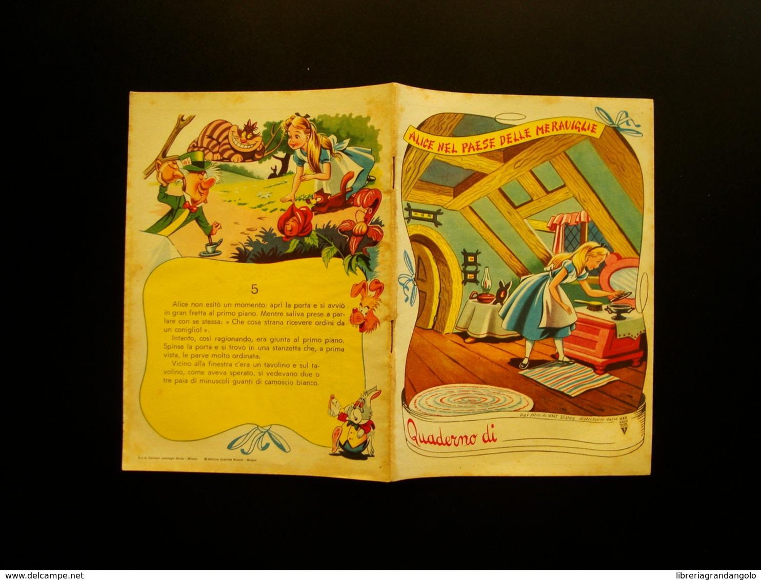 Quaderno Scolastico Non Scritto Alice Nel Paese Delle Meraviglie Film W Disney 5 - Vecchi Documenti