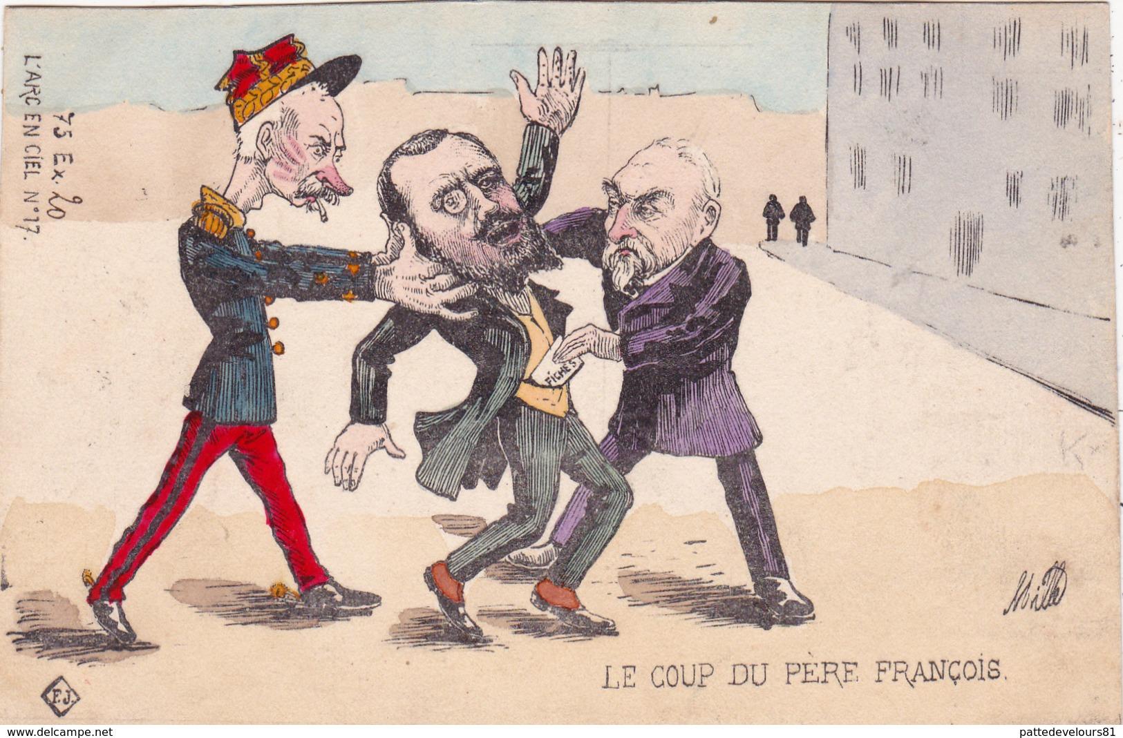 CPA Peinte à La Main Caricature Satirique Gal ANDRE / ROUVIER / COMBES L' Arc En Ciel N° 17 Illustrateur MILLE (2 Scans) - Personnages