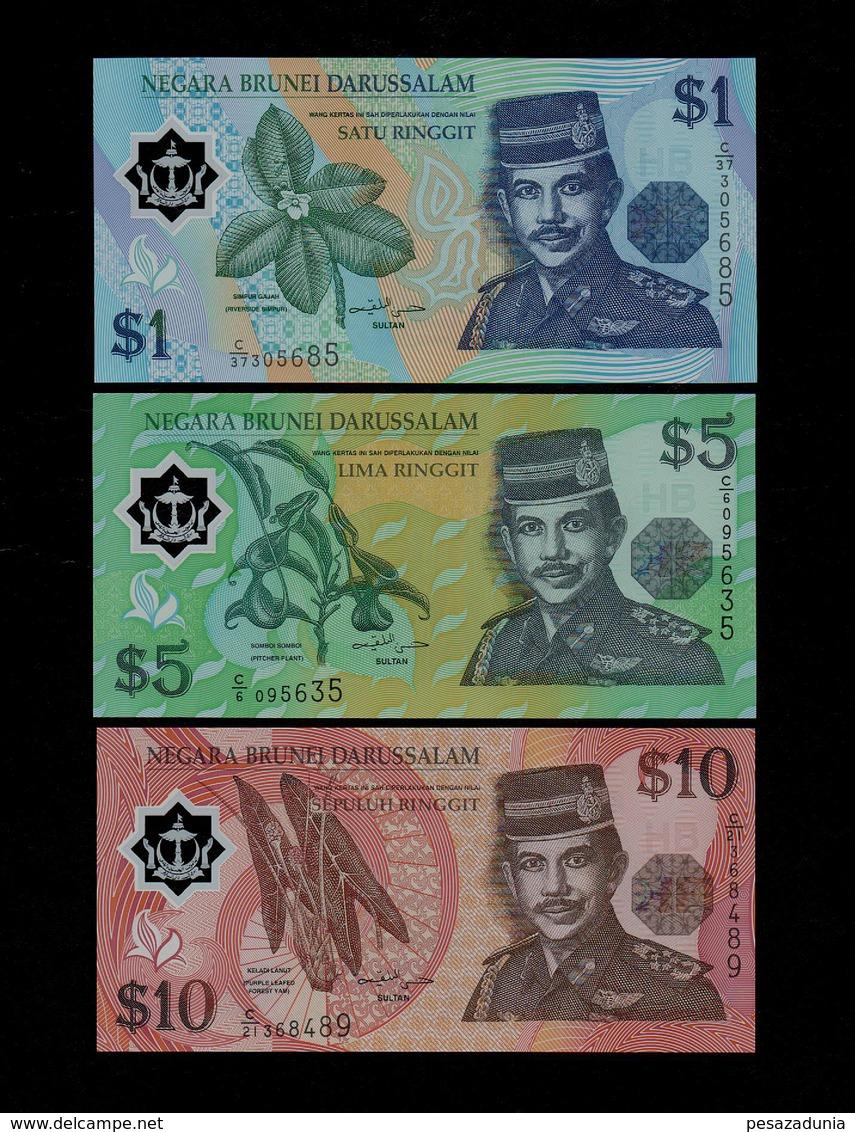 BRUNEI SET 1 5 10 RINGGIT BANKNOTES 2002-2008 UNC POLYMER - Brunei