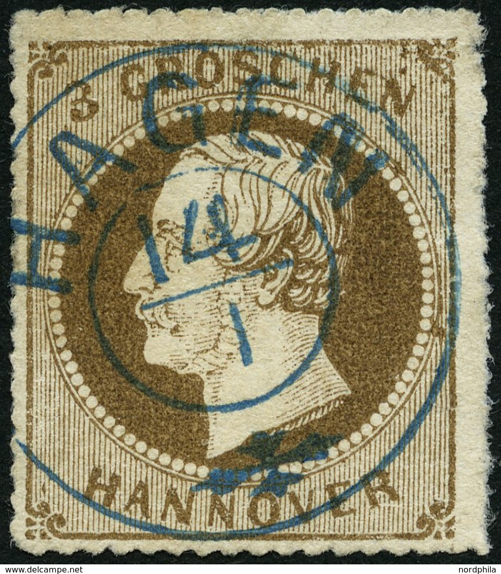 HANNOVER 25y O, 1864, 3 Gr. Hellbraun, Zentrischer Blauer K2 HAGEN, Kabinett, Signiert H. Krause, Mi. (100.-) - Hanover