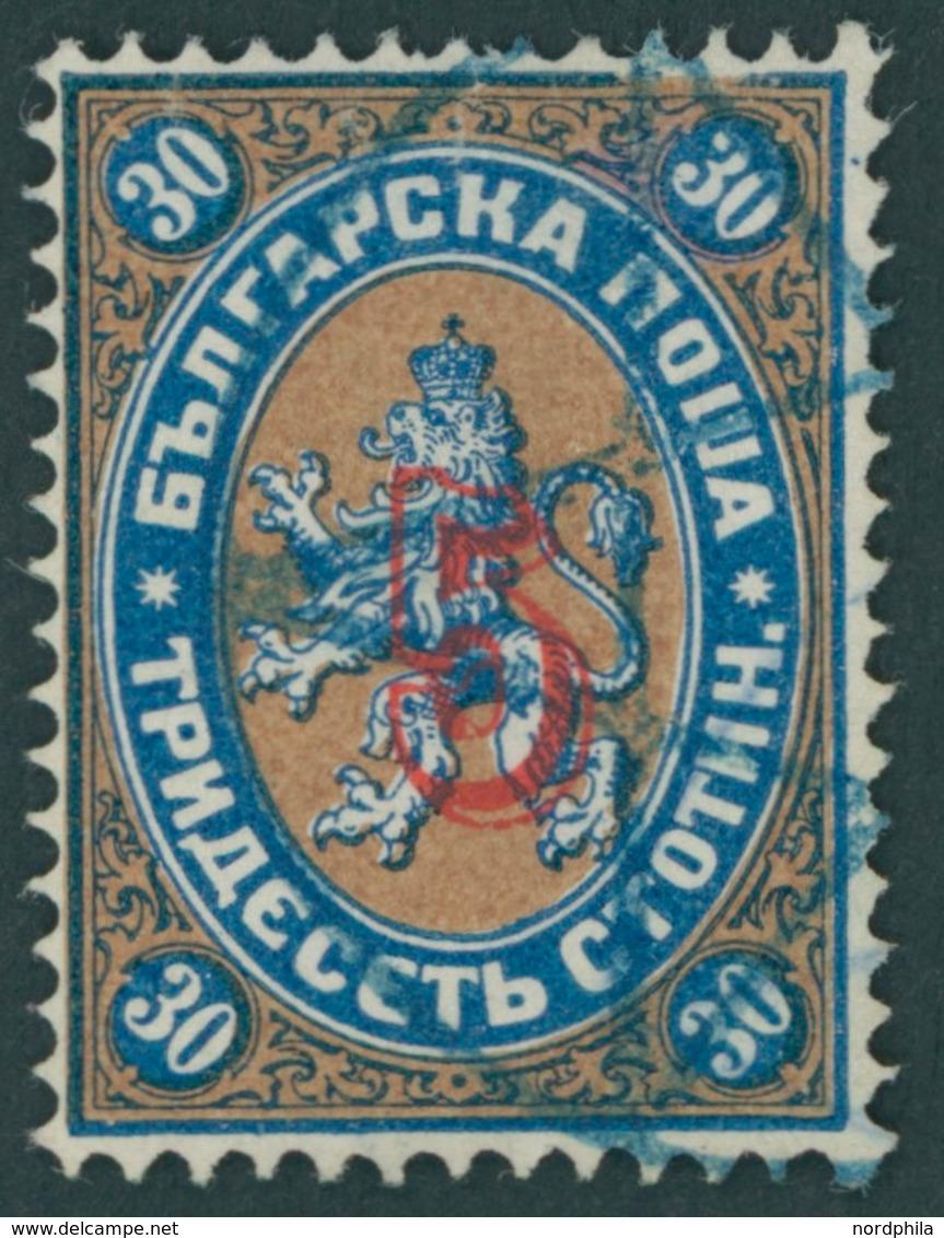 BULGARIEN 22I O, 1884, 5 Auf 30 St. Dunkelblau/gelbbraun Stdr.-Aufdruck, Pracht, Gepr. Drahn, Mi. 130.- - Bulgaria