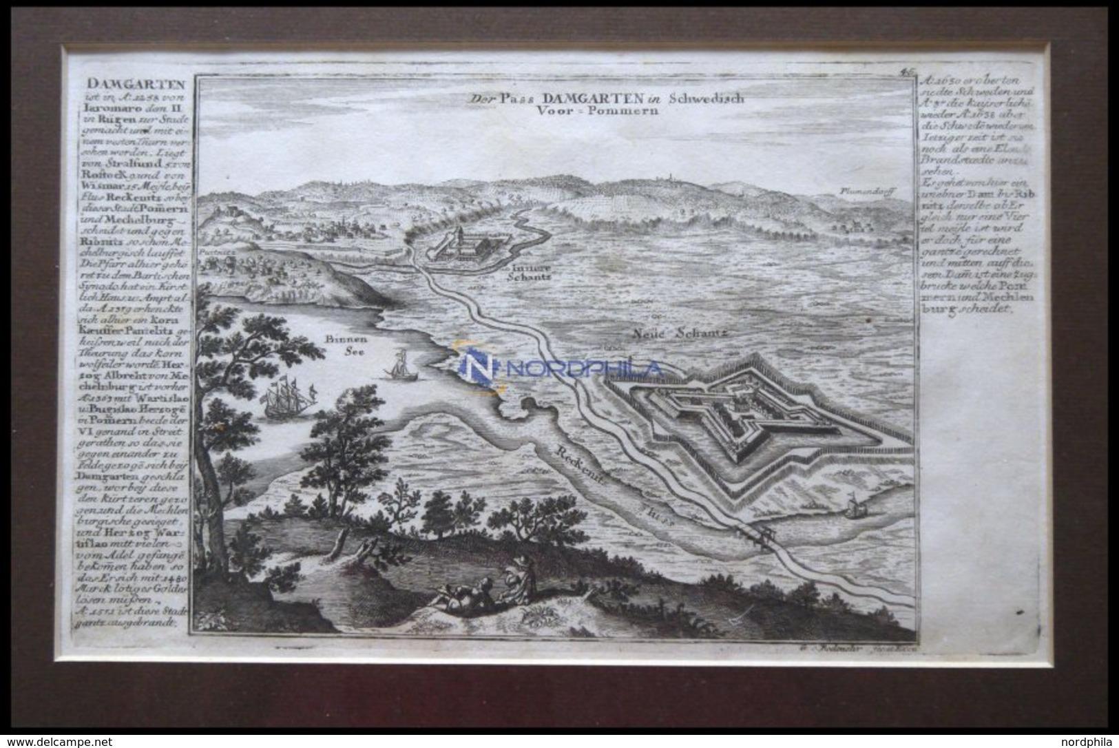 Damgarten, Kupferstichplan Und Ansicht Mit Seitlicher Beschreibung Von Bodenehr Um 1720 - Mapas