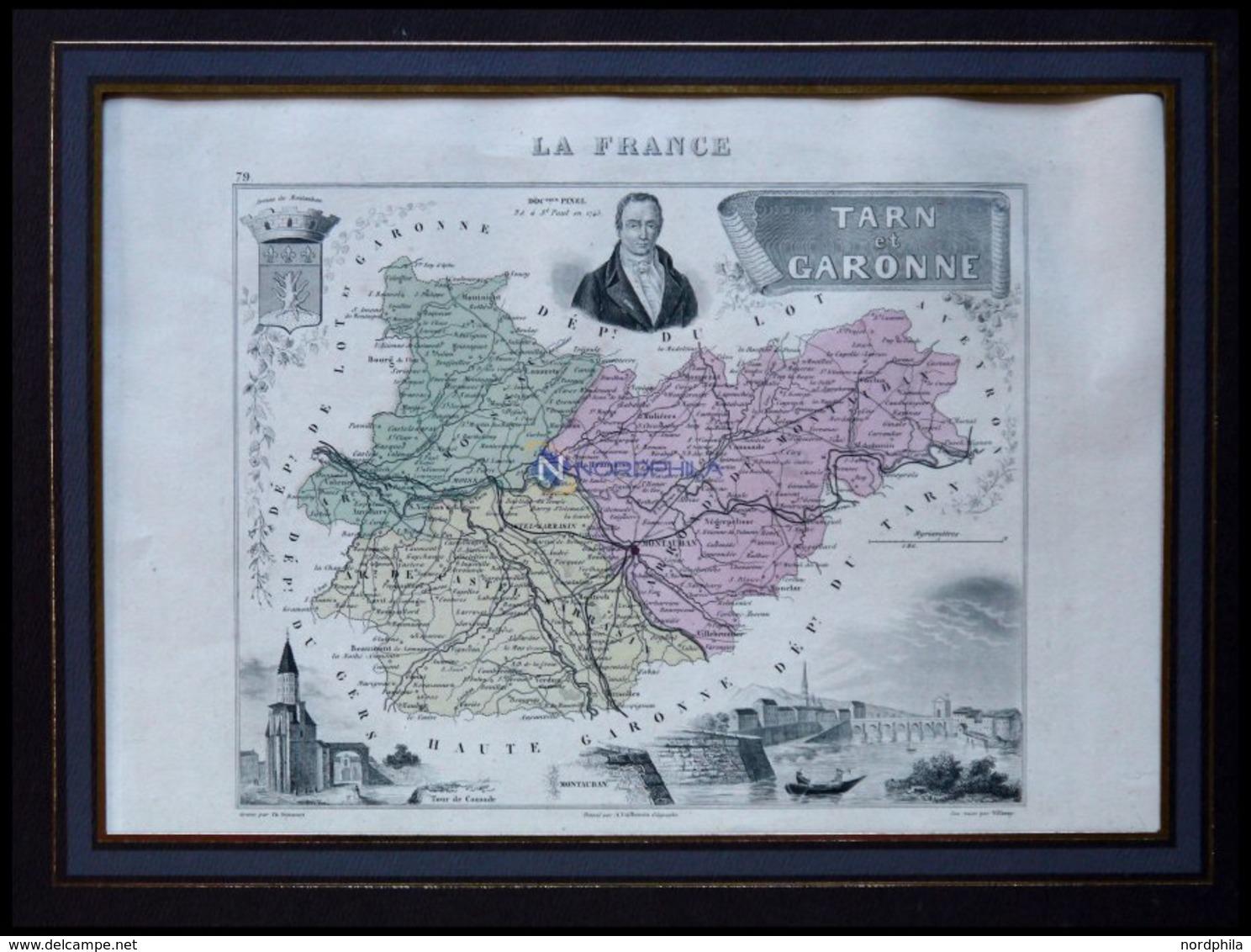 Departement Tarn-et-Garonne Mit Gesamtansicht Der Hauptstadt Montauban Und Dekorativer Personenstaffage, Farbiger Stahls - Mapas