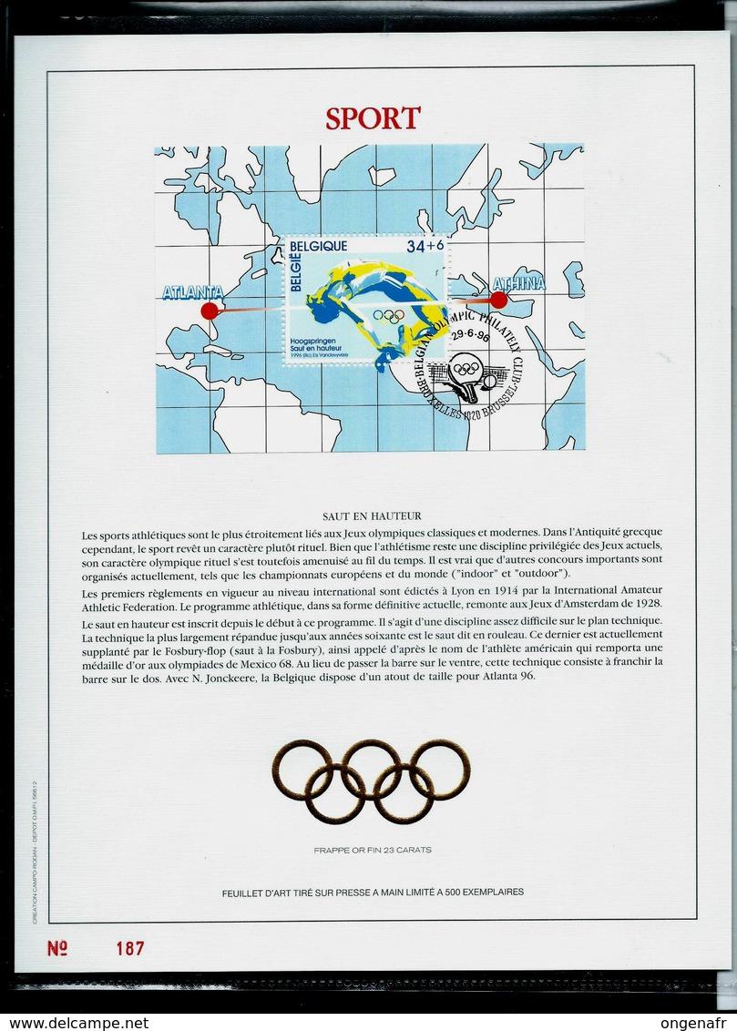Feuillet Or Du N° Bloc 72  SPORT : Saut En Hauteur  JO D'Atlanta  Obl. Bxl 29/06/96 - FDC
