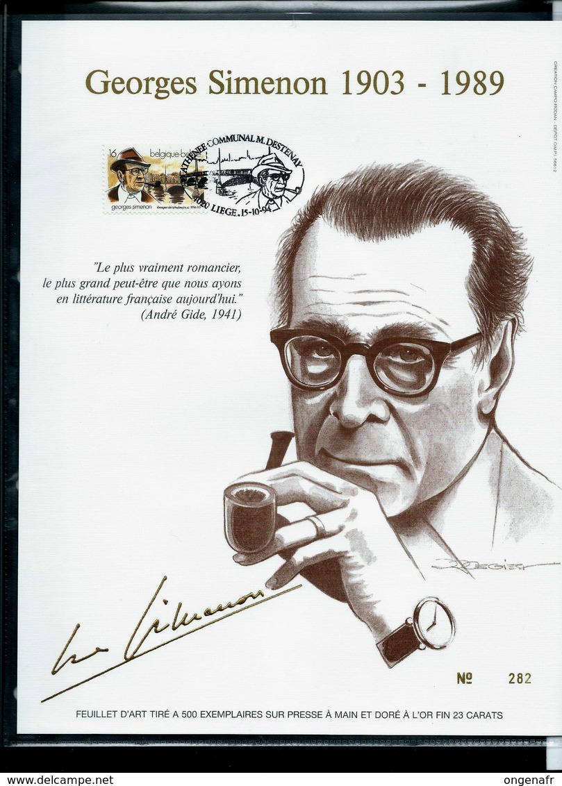 Feuillet Or Du N° 2579  Georges Simenon  1903/1989   Obl. : Liège 15/10/94 - FDC