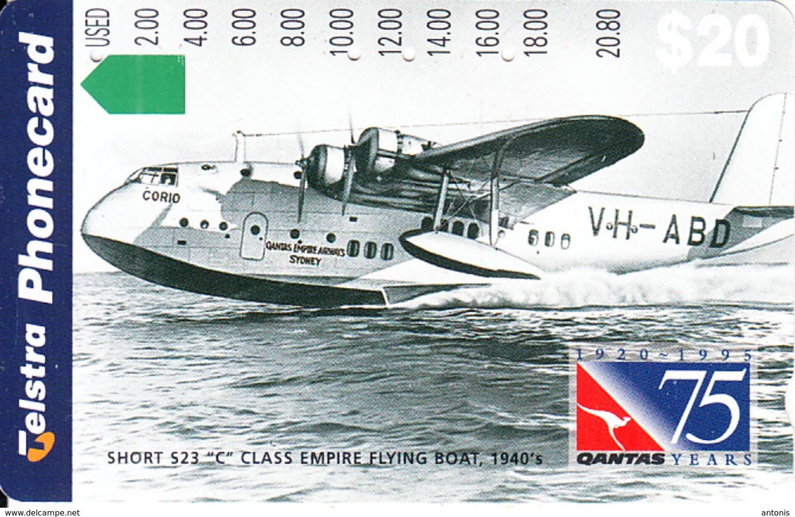 "AUSTRALIA - 75 Years QANTAS, Short S23 ""C"" Class Empire Flying Boat 1940""s, Tirage 80000, Used - Vliegtuigen"