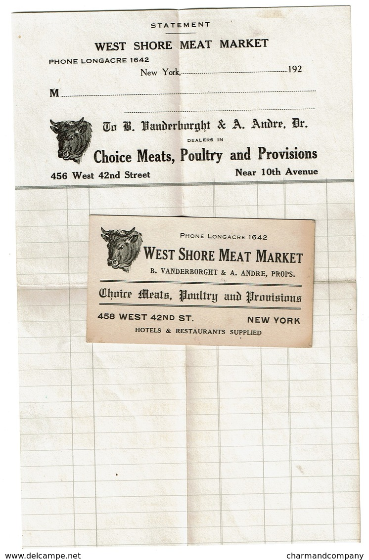 1920s West Shore Meat Market - 456 West 42nd Street New York - Statement & Visit Card, B. Vanderborght & A. Andre, Props - United States