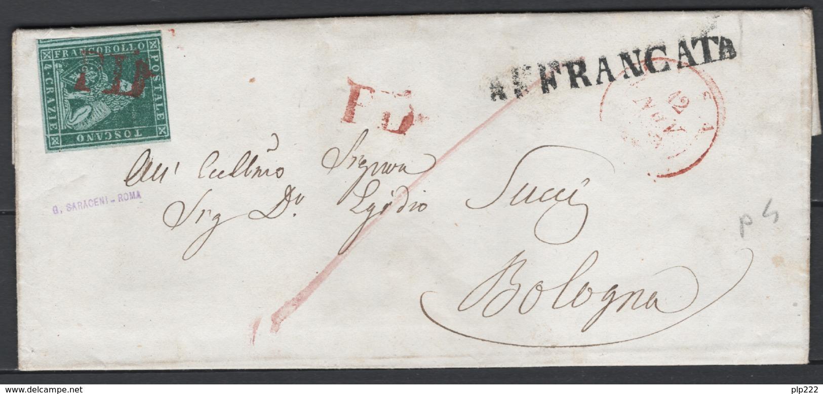 Toscana 1851 4cr. Su Lettera Da Pisa A Bologna 12/11/53 Sass.6a O/Used VF/F - Tuscany