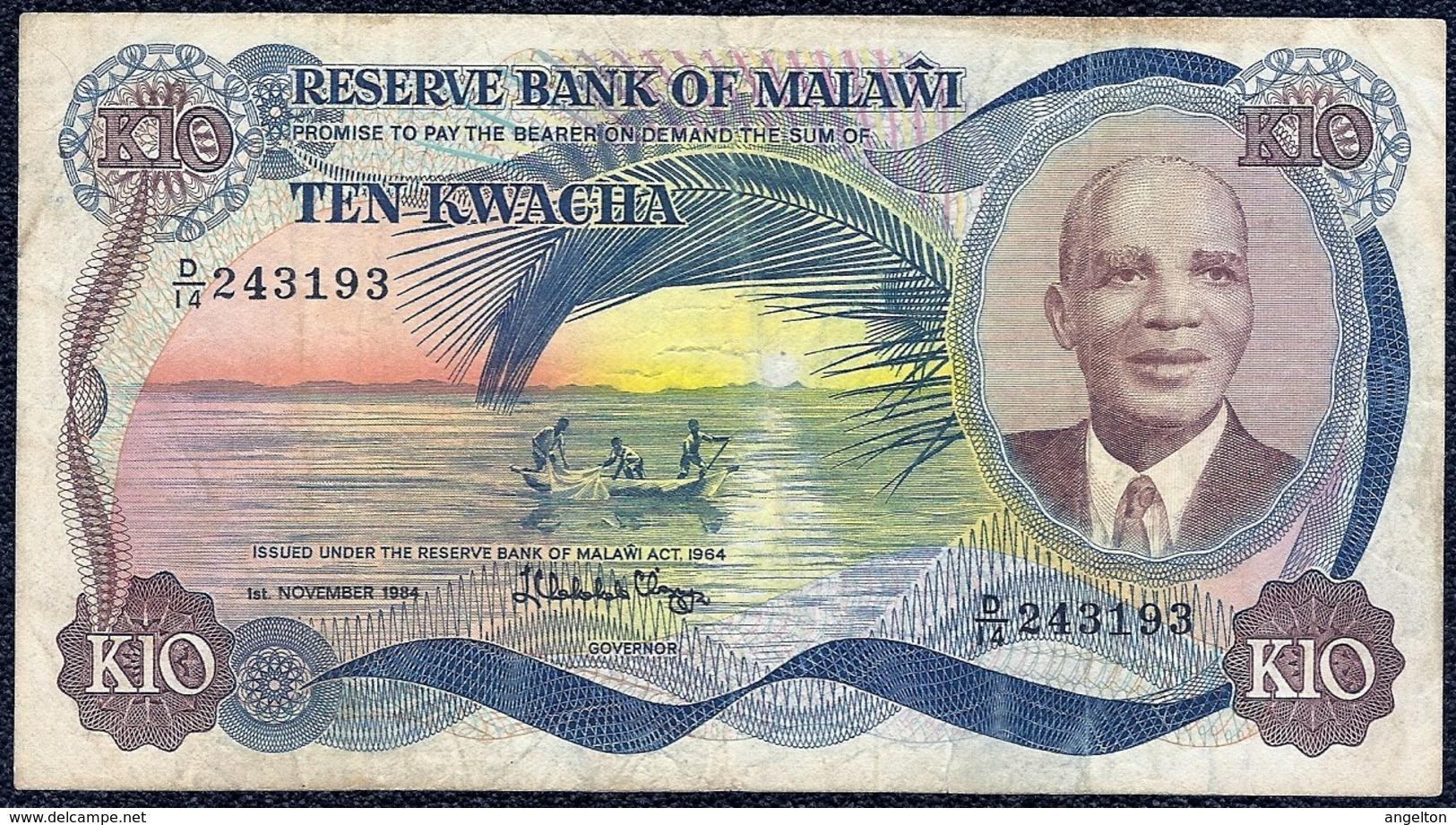 Malawi 10 Kwacha 1984 F - AVF Banknote - Malawi