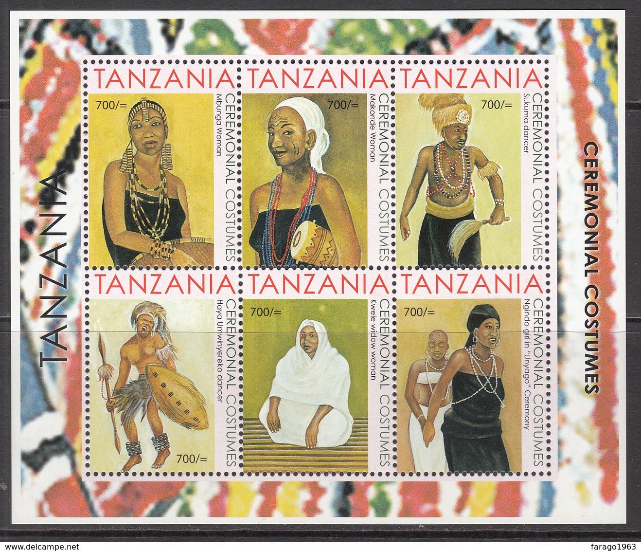 2013 Tanzania Ceremonial Costumes Culture Complete Set Of 2 Souvenir Sheets MNH - Tansania (1964-...)