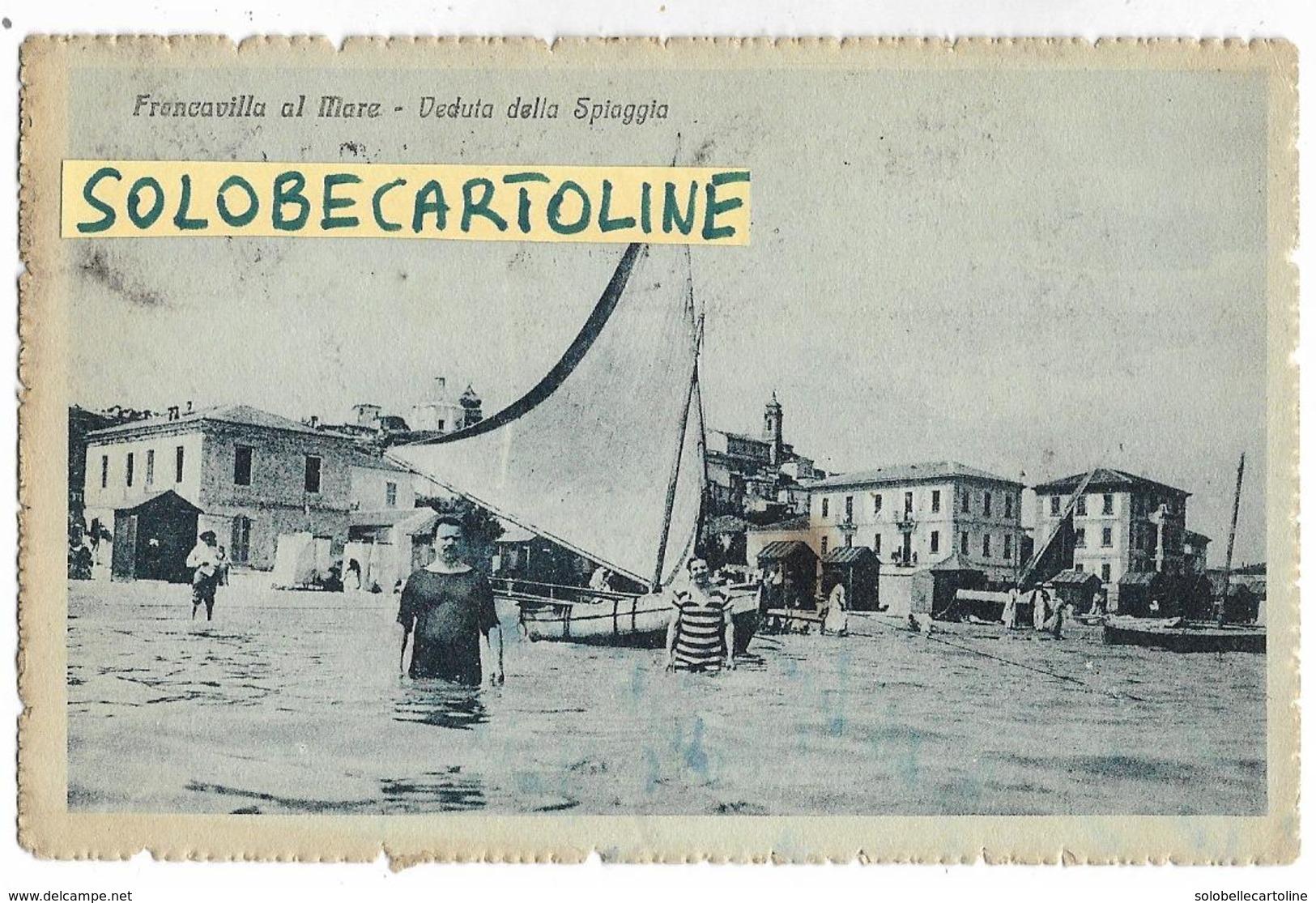 Abruzzo-francavilla Al Mare Veduta Della Spiaggia Da Mare Di Francavilla A Mare Animata Inizi Anni 20 (f.picc./v.retro) - Italia