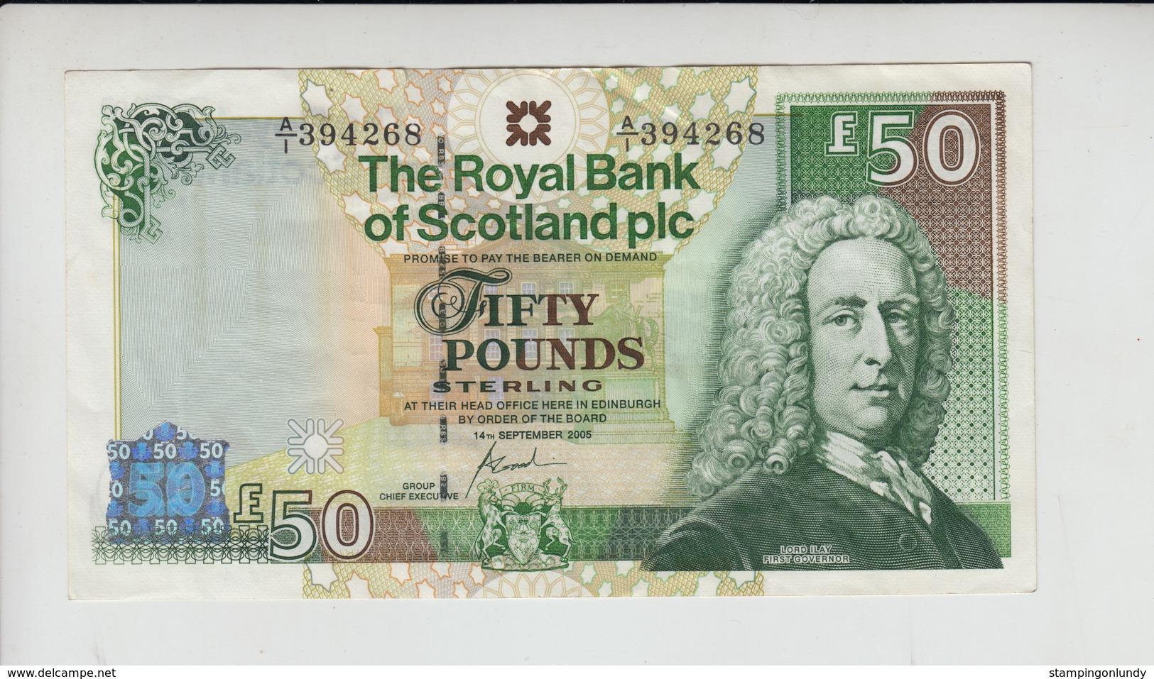 AB378. The Royal Bank Of Scotland Plc £50 Banknote 14th Sept 2005 #A/1 394268  FREE UK P+P - 50 Pounds