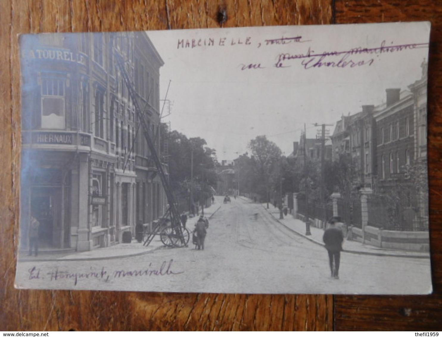 Marcinelle Vers 1910 Rue De Charleroi / Avenue Meurée / Café Coiffeur - Charleroi