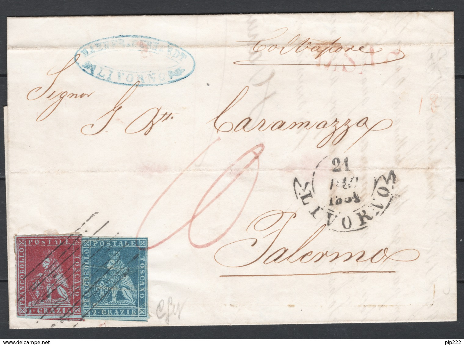 Toscana 1851 1cr.+2cr. Su Lettera Da Livorno A Palermo 21/12/52 Sass.4a+5a O/Used VF/F - Tuscany