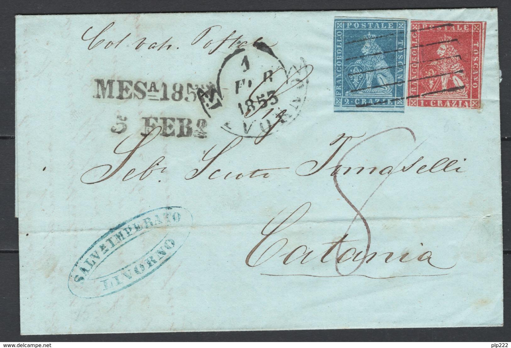 Toscana 1851 1cr.+2cr. Su Lettera Da Livorno A Catania 1/2/53 Sass.4+5a O/Used VF/F - Toscana