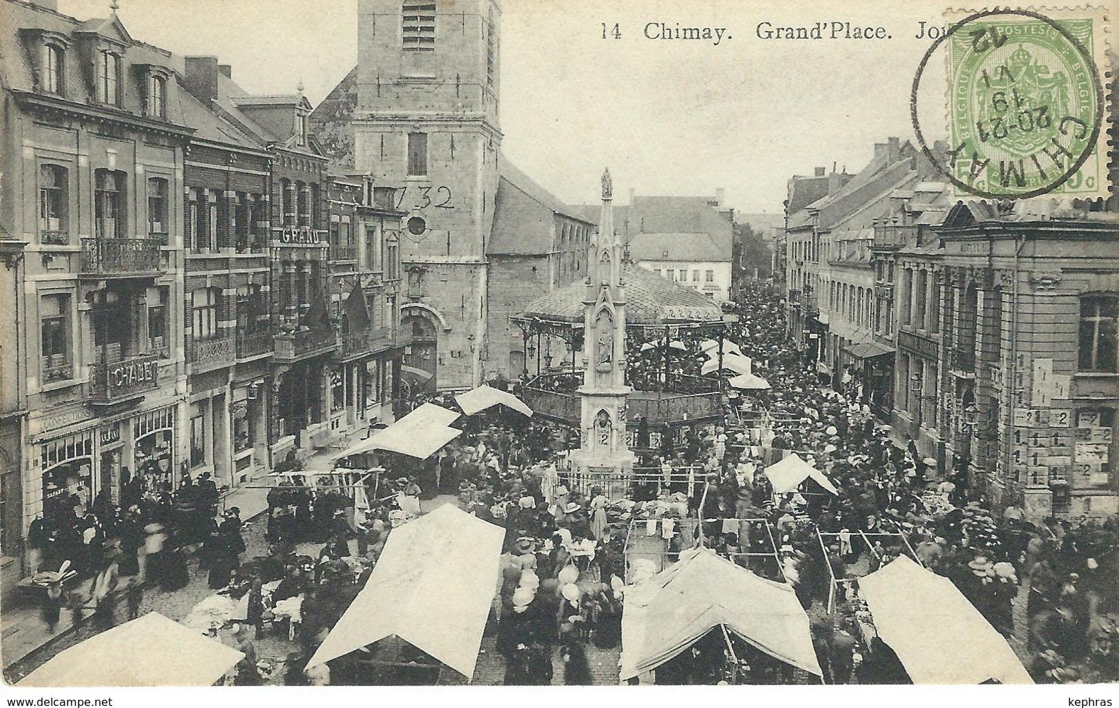 14 CHIMAY : Grand'Place - Un Jour De Marché - Cachet De La Poste 1912 - Chimay