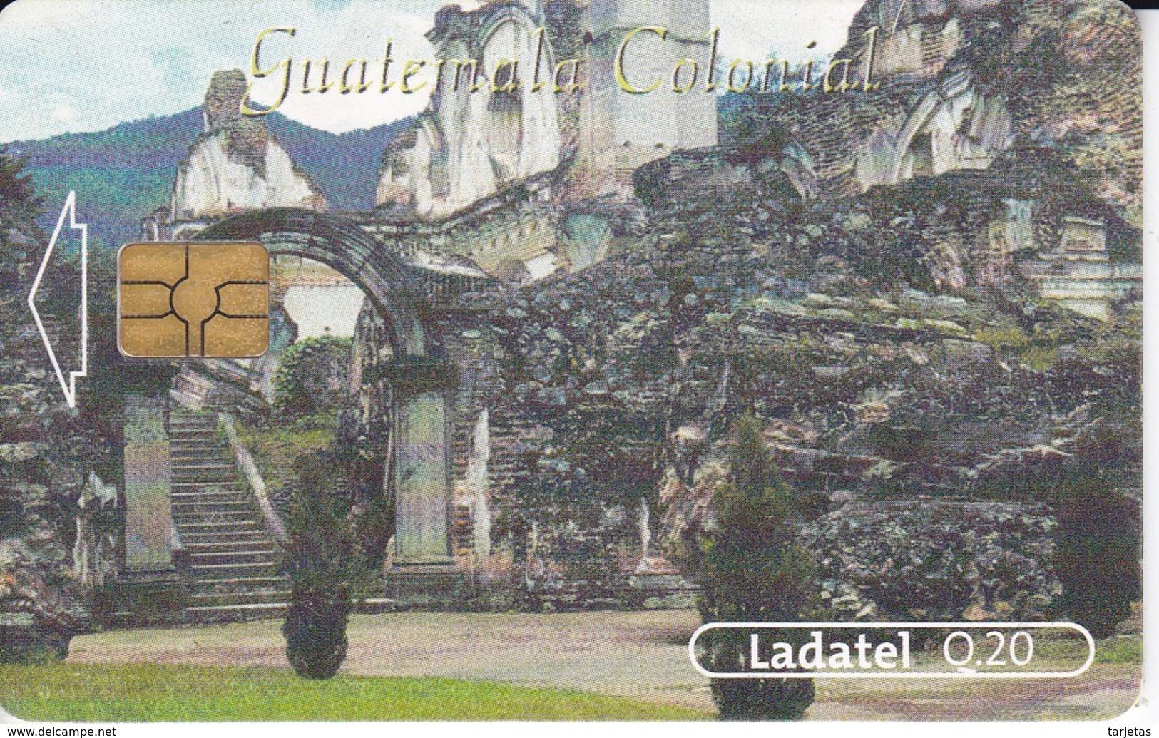 TARJETA DE GUATEMALA DE LA IGLESIA Y CONVENTO DE LA RECOLECCION CHIP NEGRO (LADATEL) - Guatemala