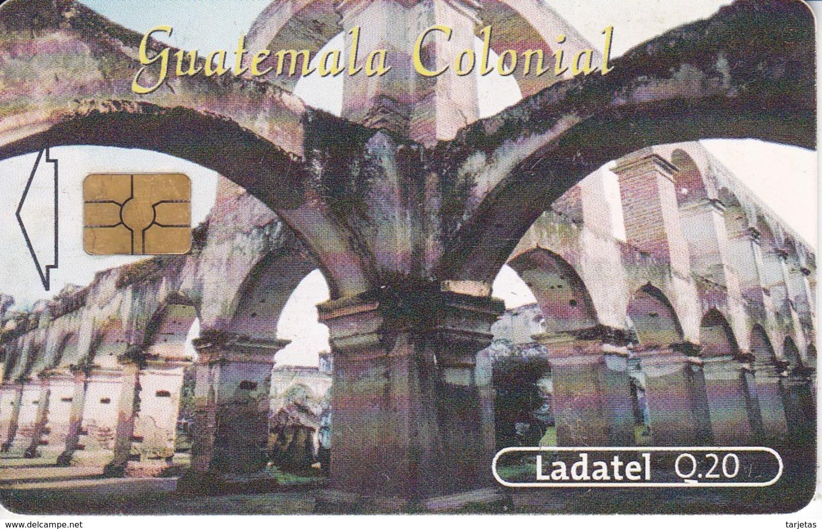 TARJETA DE GUATEMALA DEL TEMPLO Y CONVENTO DE SANTA CLARA CHIP NEGRO (LADATEL) - Guatemala