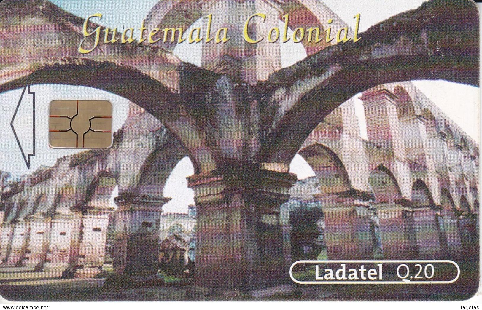 TARJETA DE GUATEMALA DEL TEMPLO Y CONVENTO DE SANTA CLARA CHIP ROJO (LADATEL) - Guatemala
