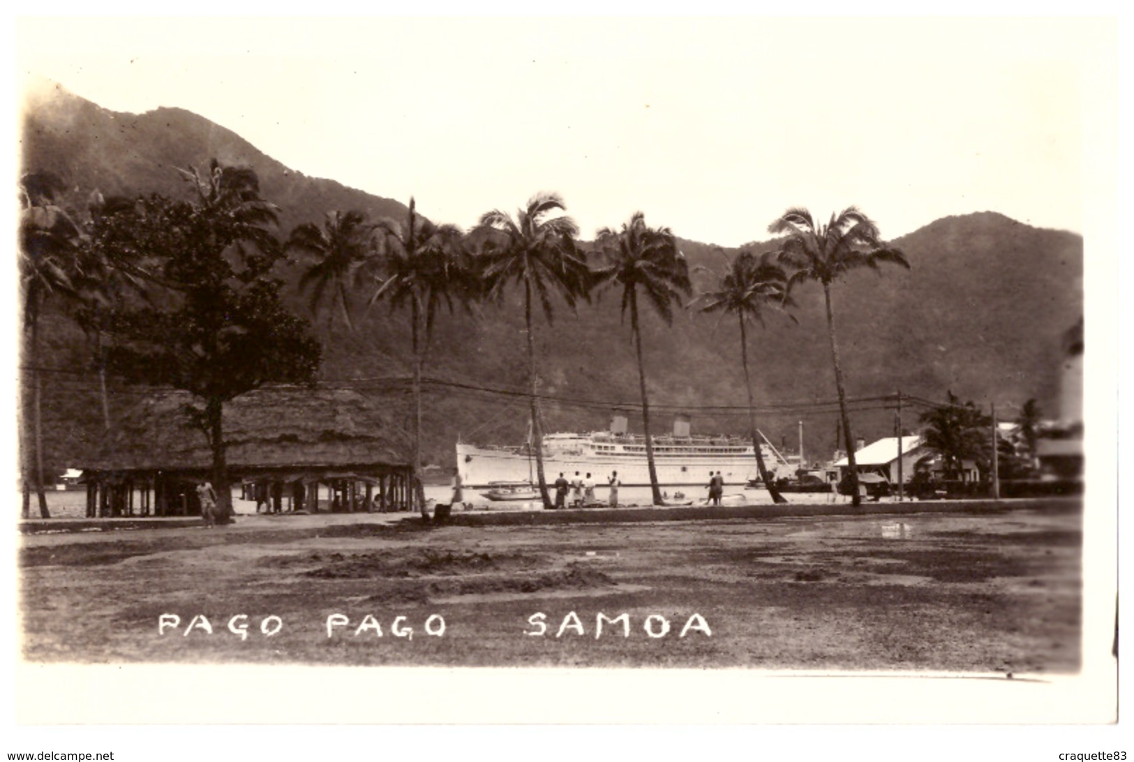PAGO PAGO  SAMOA  AMERICAINES   PAQUEBOT  DEVANT L'ILE  VUE DU PORT     CARTE ANIMEE - Samoa