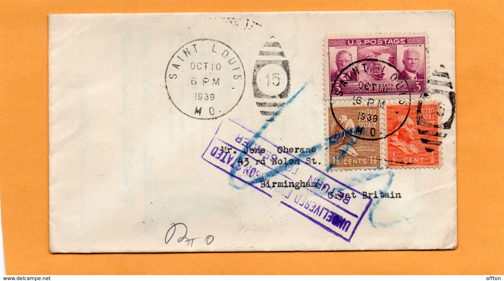 United States 1939 Cover Mailed To UK And Returned - United States