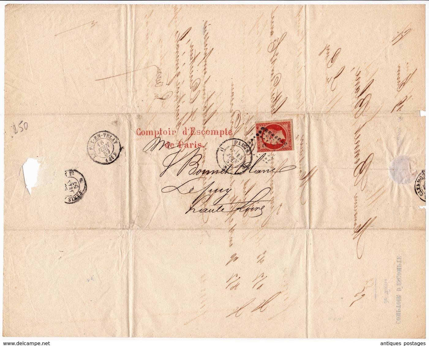 Lettre 1857 Paris Comptoir De L'Escompte Le Puy En Velay Timbre Napoléon III 40 Centimes - 1853-1860 Napoleon III