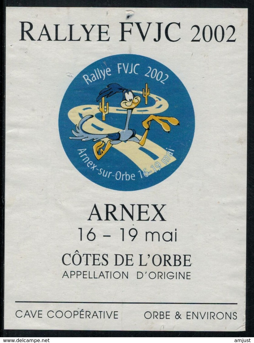 Etiquette De Vin // Côte De L'Orbe, Rallye De La Jeunesse 2002 Arnex - Voitures
