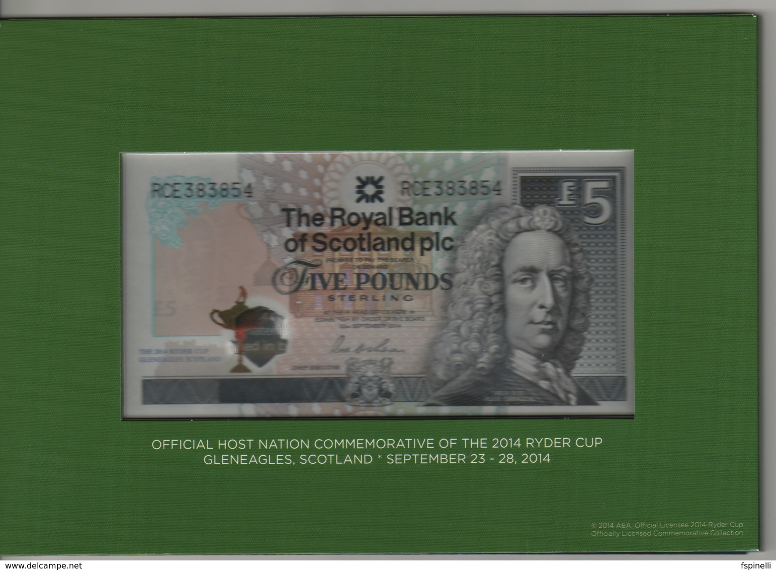 """SCOTLAND   £5  """"The Royal Bank Of Scotland""""   P369 Commemorative  (GOLF  Ryder Cup Jubilee) 22.9.2014   UNC - 5 Pounds"""