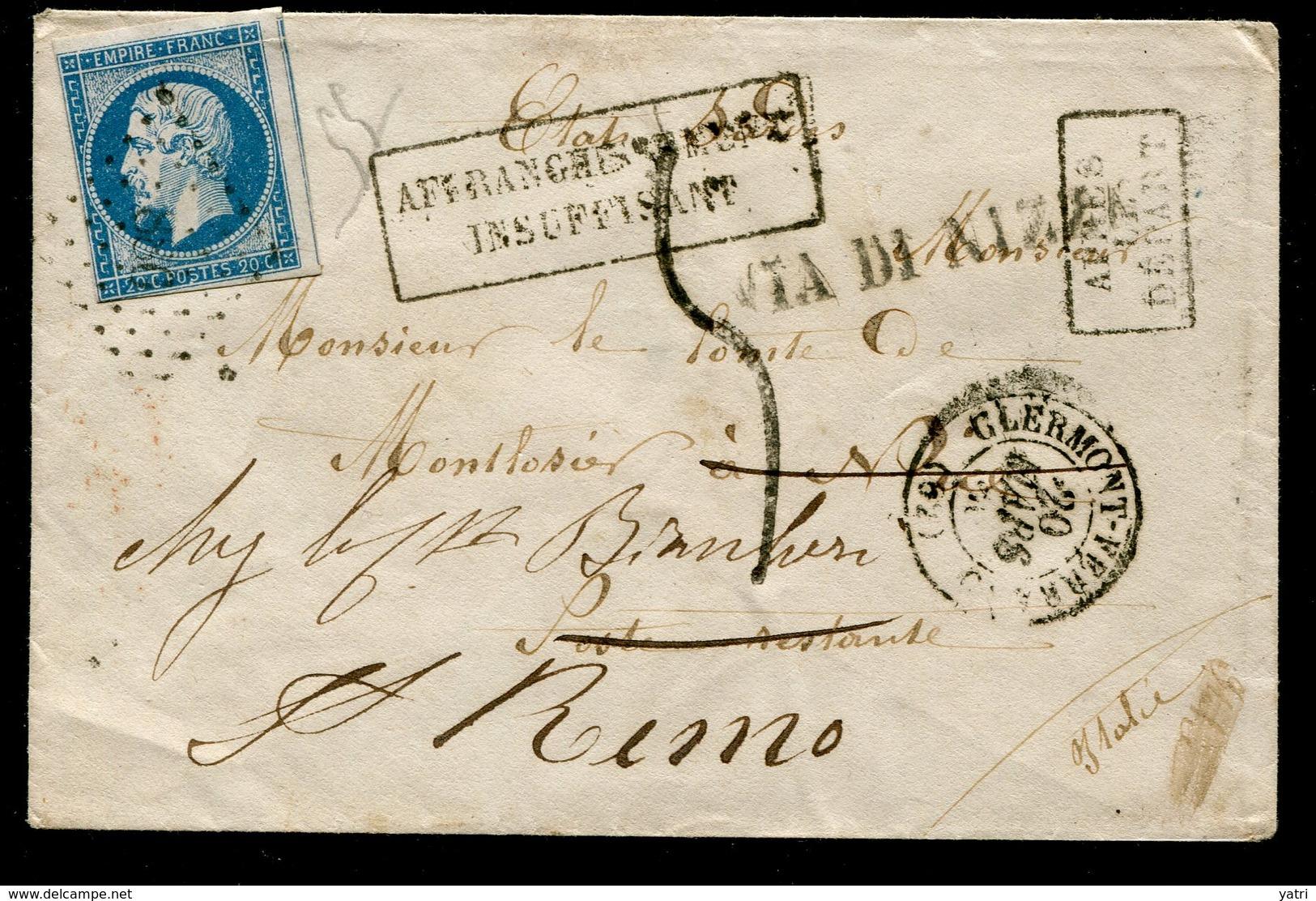 1860 - Cessione Di Nizza Alla Francia - Trattato Di Torino - Busta Da Clermont A Nizza - Sardegna