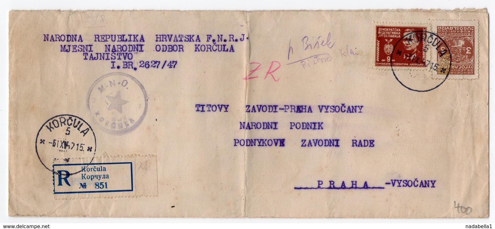 1947 YUGOSLAVIA, CROATIA, KORCULA TO PRAHA, CZECHOSLOVAKIA, REGISTERED MAIL - 1945-1992 Socialist Federal Republic Of Yugoslavia