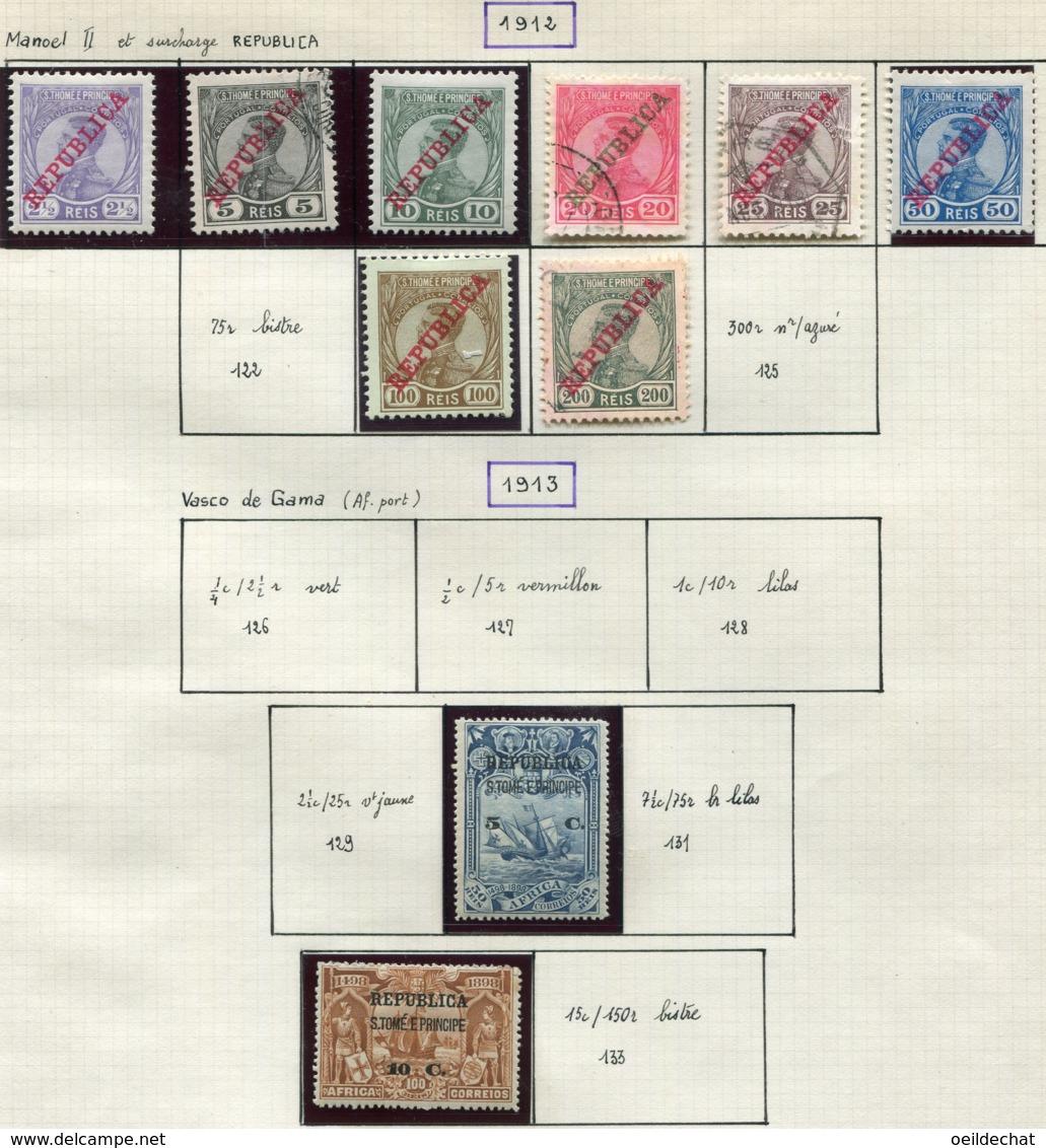 13602 St.Thomas & Prince Collection Vendue Par Page N° 116/21, 123/4, 130, 132 * / °  1912-13  B/TB - St. Thomas & Prince