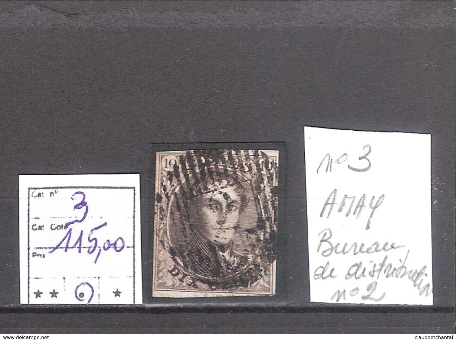 Belgique N° 3 Oblitéré (Amay) Cote COB : 115,00 €. - 1849-1850 Médaillons (3/5)