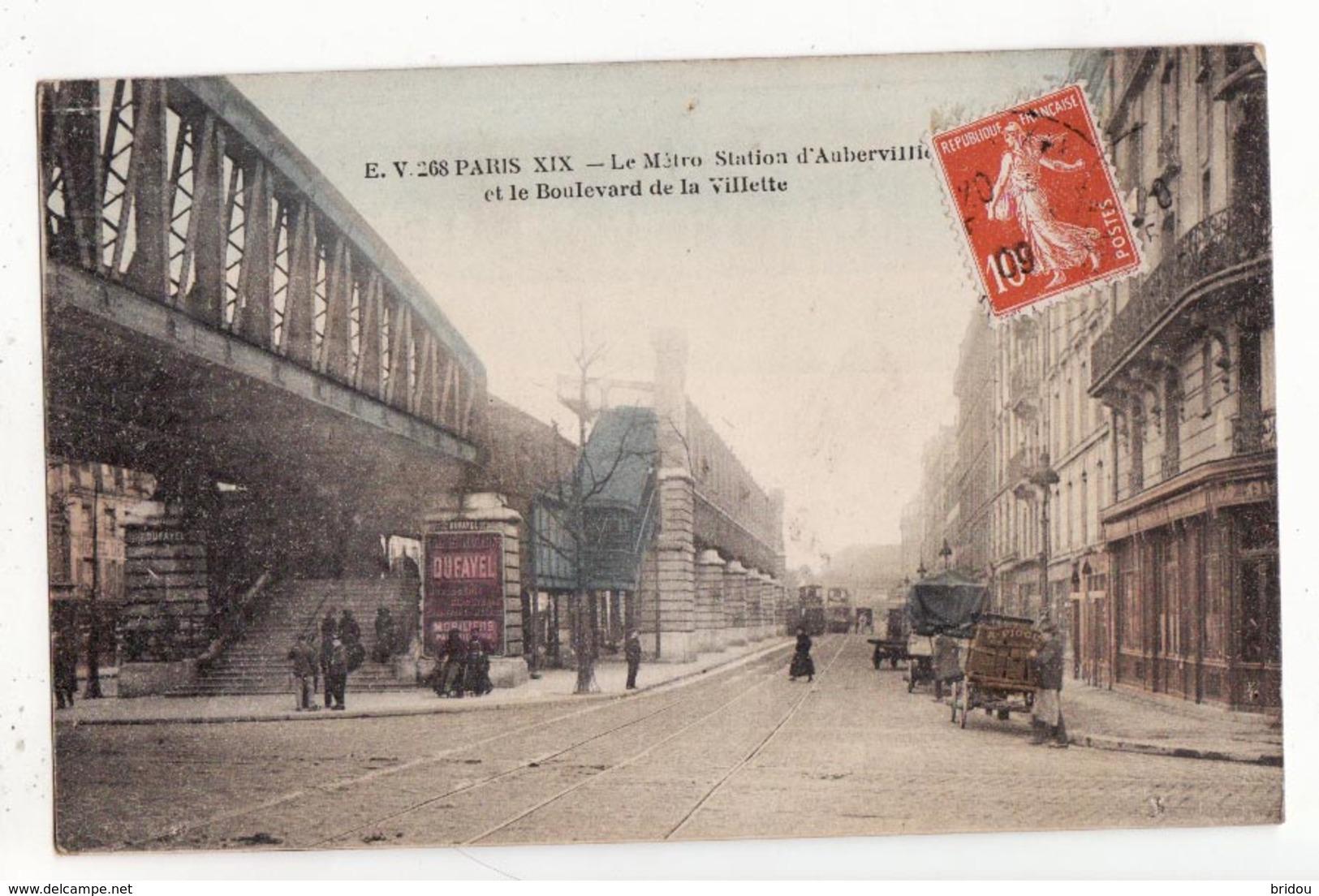 75  PARIS   Le Métro Station D'Aubervilliers Et Le Boulevard De La Villette     Cpa Colorisée - Arrondissement: 19