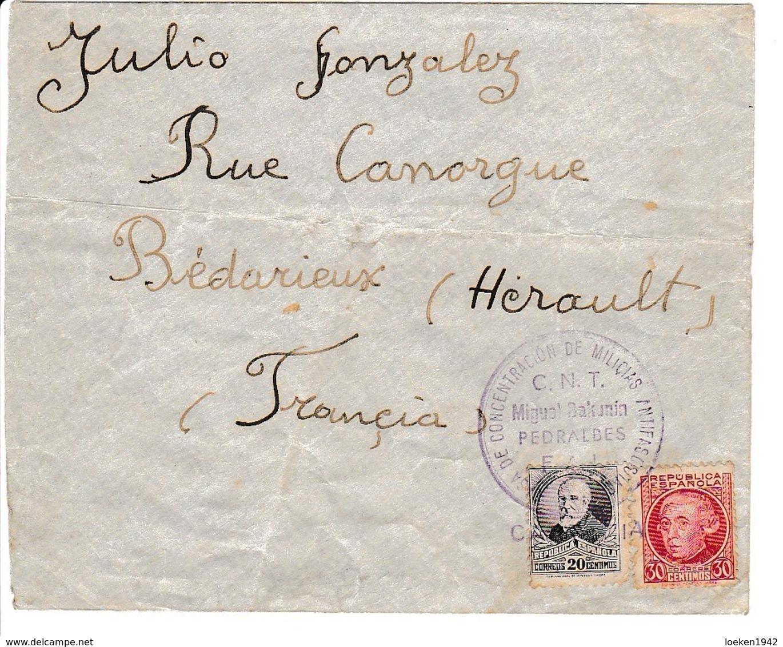 GUERRA CIVIL 1937  CNT FAI CASA BAKUNIN  PEDRALBES  CARTERIA ELA128 - 1931-Hoy: 2ª República - ... Juan Carlos I
