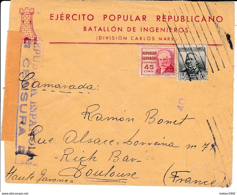 GUERRA CIVIL 1937  BATALLON DE INGENIEROS  DIVISION KARL MARX ELA130 - 1931-50 Cartas
