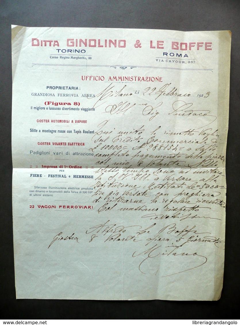 Ditta Ginolino Le Boffe Ricevuta Plateattico Ottovolante Giostra Volante 1923 - Non Classificati