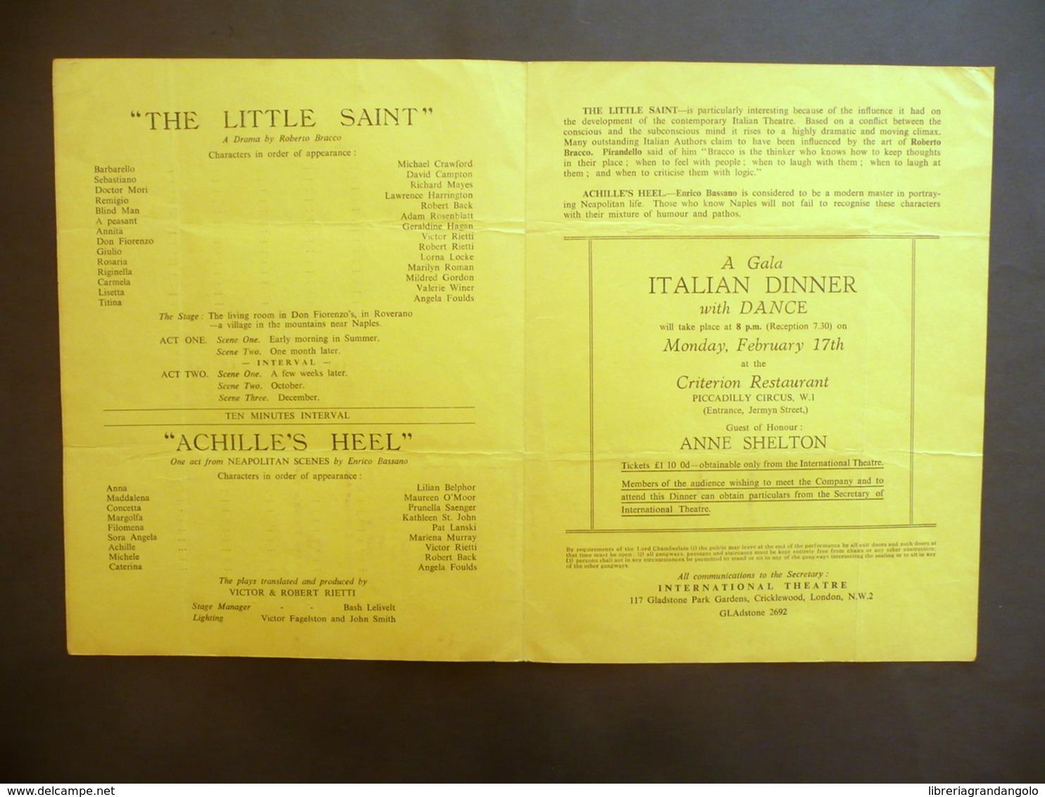 Programma Rudolf Steiner Theatre London The Little Saint Bracco 1958 Teatro - Vecchi Documenti
